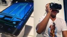 """The Galaxy Note 4 is the latest iteration of the company's """"phablet"""" phone line, and a new variant called the Note Edge features a curved screen along its side that displays notifications. The Gear VR, meanwhile, is a full-on VR system that uses the Note 4 as its main engine. (Peter Nowak For The Globe and Mail)"""