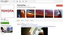 Toyota's Google+ Page as of October 10, 2011 (Google)