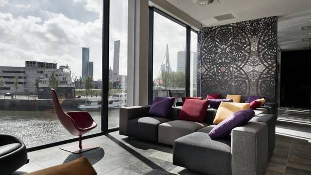 The Mainport hotel is located on a harbour with views of the Maas River, which divides the port city of Rotterdam.