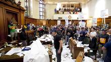 """The goal was to invade the town hall democratically"" argues Ronald Martin, president of the Firefighters Association of Montreal. (SARAH MONGEAU-BIRKETT/LA PRESSE)"