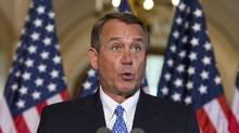 Speaker of the House John Boehner makes a statement outside his office to respond to President Barack Obama's comments on the budget showdown. (J. SCOTT APPLEWHITE/AP)