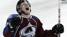 Colorado Avalanche left winger Gabriel Landeskog, from Sweden, celebrates scoring the winning goal against the Anaheim Ducks during overtime of an NHL hockey game Monday, March 12, 2012, in Denver. Colorado beat Anaheim 3-2 in overtime. (AP Photo/Jack Dempsey) (Jack Dempsey/AP)