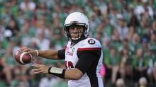 Ottawa Redblacks quarterback Brock Jensen looks for a receiver during CFL action against the Saskatchewan Roughriders on July 22, 2016. (Mark Taylor/The Canadian Press)