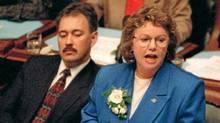 Finance Minister Elizabeth Cull delivers the budget speech in the Legislature in Victoria in 1996. (John McKay/CP/John McKay/CP)