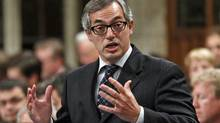 Treasury Board President Tony Clement speaks during Question Period in the House of Commons on Sept. 22, 2011. (CHRIS WATTIE/REUTERS)
