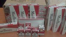 Cigarettes seized in a tobacco bust in October 2010 are pictured in this undated photo. (Handout/RCMP/Handout/RCMP)