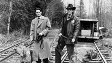 Kyle MacLachlan, left, played FBI agent Dale Cooper and Michael Ontkean is Sheriff Harry S. Truman, investigating the murder of high-school homecoming queen Laura Palmer in Twin Peaks. (ABC)