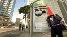 The artist who goes by the name Posterchild, stands by one of his latest installations, Weather Beacon, in April, 2009 (Jennifer Roberts/Jennifer Roberts/For The Globe and Mail)