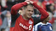 After undergoing off-season knee surgery, Toronto FC's Danny Koevermans is confident of a return to action on June 1. (file photo) (MIKE CASSESE/REUTERS)