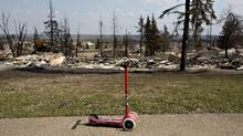 The devastated neighbourhood of Abasand is shown after being ravaged by a wildfire in Fort McMurray, Alberta, Canada, May 13, 2016. (Jason Franson/Reuters / Pool)