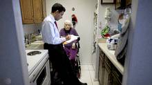 Dr. Samir Sinha talks with 86-year-old patient Jean about her prescribed medication during a house call visit April 5, 2011. (Moe Doiron/The Globe and Mail/Moe Doiron/The Globe and Mail)