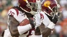 Southern California cornerback Josh Shaw runs back an interception for a touchdown (Eugene Tanner/AP)