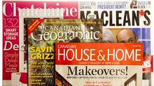 Canadian magazine covers from 2012, which include Canadian House & Home, Canadian Georgraphic, Maclean's, Chatelaine. (Peter Power/The Globe and Mail)