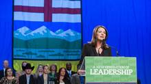 Danielle Smith, Leader of the Official Opposition with the Wildrose party, speaks at her annual Leader's Dinner in Edmonton, Alberta on Thursday, October 09, 2014. The defection by the Opposition Leader and much of her caucus, unprecedented in modern Canadian political history, would end the most credible challenge to the Tories' 43-year reign. (Chris Bolin For The Globe and Mail)