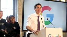Prime Minister Justin Trudeau speaks during the unveiling of Google's new Canadian engineering headquarters in Kitchener-Waterloo, Ontario January 14, 2016. (PETER POWER/REUTERS)