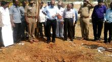 Indian authorities inspect the site of a suspected meteorite landing on Feb. 7, 2016, in Vellore district in southern Tamil Nadu state in an impact that killed a bus driver and injured three others on Feb. 6. (AFP/Getty Images)