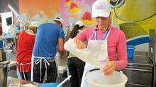 Over the course of one week, students in the English-language beginner sessions make variations of at least 20 flavours of gelato.