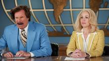 "This photo provided by Paramount Pictures shows Will Ferrell, left, as Ron Burgundy and Christina Applegate as Veronica Corningstone, in a scene from the film, ""Anchorman 2: The Legend Continues (Gemma LaMana/AP)"