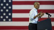 President Barack Obama speaks during a campaign event for Hillary Clinton at Capital University in Columbus, Ohio, on Nov. 1, 2016. (Ty Wright/Getty Images)