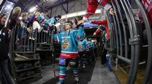 Belfast Giants players at the start of the game between Belfast Giants and Cardiff Devils. (Kelvin Boyes / Press Eye/Kelvin Boyes / Press Eye)