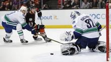 Vancouver Canucks goalie Richard Bachman makes against the Anaheim Ducks on March 5, 2017. (Jae C. Hong/AP)