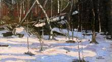 Detail from Tom Thomson painting Early Snow, Algonquin Park. Sotheby's