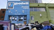 With news that Goodwill stores and donation drop off centres closed across southern Ontario, goods were left outside a donation centre in Toronto on Jan 18. (Fred Lum/The Globe and Mail)