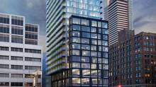 Peter Street Condominiums in Toronto: A web of black masonry stretched across the bottom storeys of the white tower is supposed to remind us of the large brick-framed windows in the area's warehouses.