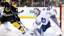 Toronto Maple Leafs' James Reimer makes a save against Boston Bruins' Matt Beleskey on Feb. 2. Reimer's 'red-zone' save percentage is .835, second only to Washington Capitals' Braden Holtby. (Winslow Townson/USA Today Sports)