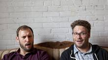 Movie directors and writers Evan Goldberg, left, and Seth Rogen in Toronto on May 28, 2013. (Deborah Baic/The Globe and Mail)