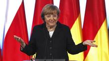 Chancellor Angela Merkel's conservatives are tipped to win most votes in the September election, helped partly by her tough stance on euro zone bailouts and her insistence that heavily indebted countries embrace harsh austerity measures. (PETER ANDREWS/REUTERS)