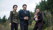 "This photo provided by Columbia Pictures - Sony shows, from left, Diana Bang, as Sook, Seth Rogen, as Aaron, and James Franco, as Dave, in Columbia Pictures' ""The Interview."" (AP Photo/Columbia Pictures - Sony, Ed Araquel) (Ed Araquel/THE ASSOCIATED PRESS)"