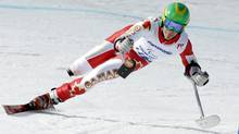 Canada's Braydon Luscombe skis during the Men's Downhill Standing training at the 2014 Sochi Paralympic Winter Games at the Rosa Khutor Alpine Center, March 6, 2014. (Reuters)
