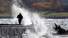 Waves caused by a strong breeze crash against the seawall along the English Bay side of Stanley Park in Vancouver, British Columbia November 4, 2008. (Andy Clark/Reuters/Andy Clark/Reuters)