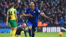 Leonardo Ulloa of Leicester City celebrates scoring his team's first goal during the Barclays Premier League match between Leicester City and Norwich City at The King Power Stadium on February 27, 2016 in Leicester, England. (Michael Regan/Getty Images)