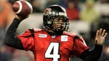 Ottawa Renegades quarterback Kerry Joseph throws a pass against the Winnipeg Blue Bombers during first half Canadian Football League action in Ottawa September 16, 2005. (Reuters)