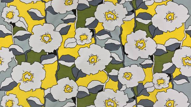 """The bright floral Viborg print, made in 1975 by Rexdale, Ont.'s Waldec of Canada, echoes Marimekko's playful aesthetic. Prokopow found a bolt of the fabric in a Value Village. """"It's possible someone wanted to make a dress out of it, but never got around to it."""""""