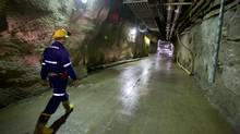 Scott Bishop, chief engineer at Cameco Corp.'s Cigar Lake uranium mine, gives a tour of a mine shaft that is 1,575 feet (480 meters) deep and just below the ore body in northern Saskatchewan, Canada (Geoff Howe/© 2010 Bloomberg Finance LP)