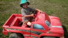 Three-year-old Demetrius Jones survived unscathed when he mistakenly launched his motorized toy truck into the Peace River on Sunday morning, and the current carried him off for two hours.