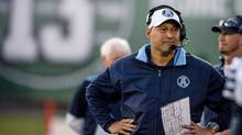 Argos head coach Scott Milanovich, watching his team play in Regina in 2014, faces a must-win game against Roughriders on Saturday. (Matt Smith/The Canadian Press)