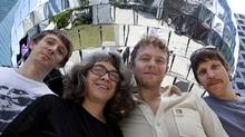 Bastian Trost, Sarah Thom, Simon Will and Sean Patten, members of the video-performance group Gob Squad. (Deborah Baic/The Globe and Mail)