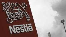 A Nestle logo is pictured on a factory in Orbe, Switzerland on April 20, 2012. (REUTERS)