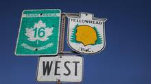 Signs for Highway 16, also know as the Highway of Tears, near Smithers, B.C., on May 10, 2014. (John Lehmann/The Globe and Mail)