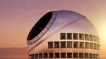 A photo illustration of the Thirty Meter Telescope. (www.tmt.org)