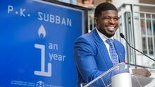 Nashville Predators defenceman P.K. Subban addresses a gathering nearly one year after making a $10-million pledge to the Montreal Children's Hospital Foundation, Wednesday, August 31, 2016 in Montreal. (Paul Chiasson/The Canadian Press)