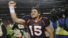 Denver Broncos quarterback Tim Tebow (15) celebrates after beating the Pittsburgh Steelers 29-23 in overtime of an NFL wild card playoff football game Sunday, Jan. 8, 2012, in Denver. (Chris Schneider/AP/Chris Schneider/AP)