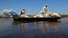 Contract workers from BP ferry oil soaked waste to a pickup point as other workers use skimmers to clean oil from a marsh near Venice, La. (Win McNamee/Win McNamee/Getty Images)