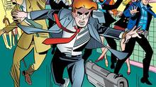 "This image provided by Archie Comics shows Archie in his final moments of life in the comic book, ""Life with Archie,"" issue 37. Archie Andrews will die taking a bullet for his gay best friend. The famous freckle-faced comic book icon will die in the July 16, 2014 installment of ""Life with Archie"" while intervening in the assassination of Kevin Keller, Archie Comics' first openly gay character. (AP Photo/Archie Comics)"