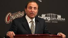 NHL commissioner Gary Bettman speaks during a press conference before the NHL game between the Vancouver Canucks and the Phoenix Coyotes at Jobing.com Arena on March 8, 2011 in Glendale, Arizona. (Christian Petersen/2011 Getty Images)