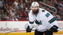 Brent Burns has a shot at becoming the first defenceman to win the Art Ross Trophy as the NHL's leading scorer since Bobby Orr. (Christian Petersen/Getty Images)